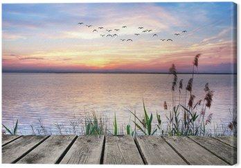 Tableau sur Toile Jetée en bois au coucher du soleil