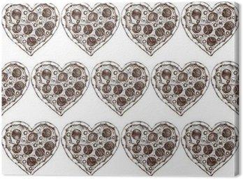 Tableau sur Toile Jour Menu Design Saint-Valentin. Hand drawn pizzeria illustration. Vector seamless pattern. Vintage Pizza fond