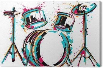 Tableau sur Toile Kit tambour avec des touches de style aquarelle. dessiné à la main Colorful illustration vectorielle