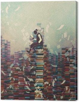 Tableau sur Toile L'homme livre de lecture, assis sur une pile de livres, le concept de la connaissance, illustration peinture