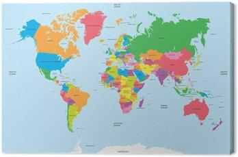 Tableau sur Toile La carte politique du vecteur du monde