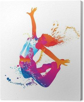 Tableau sur Toile La jeune fille danse avec des taches colorées et éclaboussures sur fond blanc