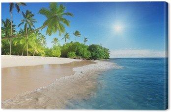 Tableau sur Toile La mer des Caraïbes et les paumes