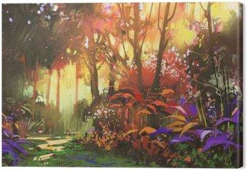 Tableau sur Toile La peinture de paysage de la belle forêt avec la lumière du soleil, illustration