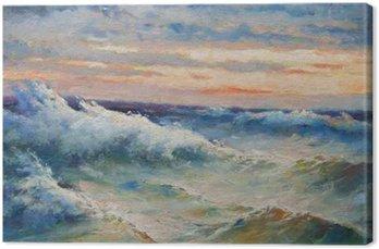Tableau sur Toile La peinture de paysage montrant de grandes vagues de la mer pendant la tempête