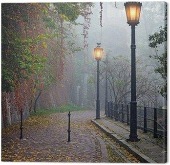 Tableau sur Toile La ruelle mystérieuse dans le temps d'automne brumeux avec des lampes allumées