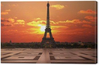 Tableau sur Toile La Tour Eiffel depuis le Trocadéro aube