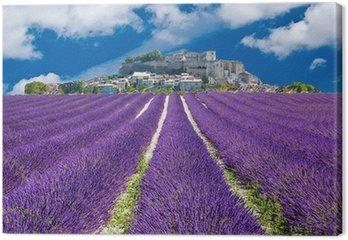 Tableau sur Toile Lavande en Provence, village provençal en France