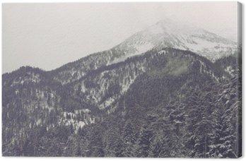 Tableau sur Toile Le mouvement des nuages plus lointain sommet de la montagne