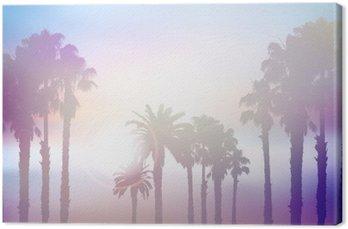 Tableau sur Toile Le paysage d'été de palmier avec rétro effet