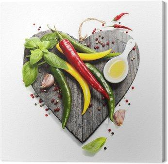 Tableau sur Toile Légumes frais sur le coeur en forme de planche à découper