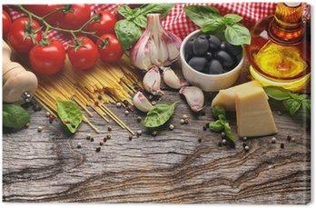 Tableau sur Toile Légumes, herbes et épices pour la cuisine italienne