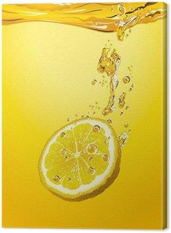 Tableau sur Toile Lemon slice with bubbles