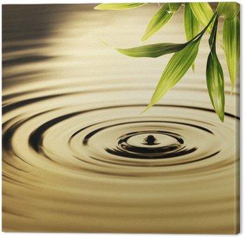 Tableau sur Toile Les feuilles fraîches de bambou sur l'eau