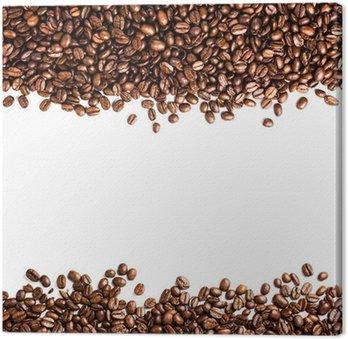 Tableau sur Toile Les grains de café isolé sur fond blanc avec atelier pour te