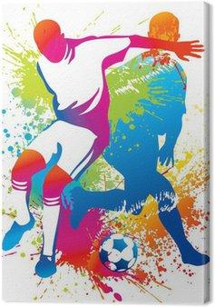 Tableau sur Toile Les joueurs de soccer avec un ballon de soccer