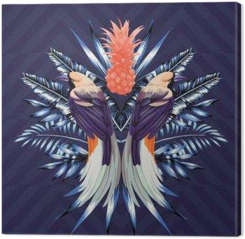 Tableau sur Toile Les oiseaux et les ananas miroir print