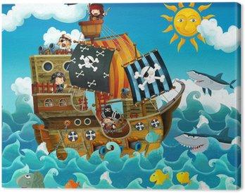 Tableau sur Toile Les pirates sur la mer - illustration pour les enfants