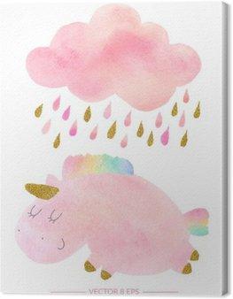 Tableau sur Toile Licorne Aquarelle et de nuages avec de la pluie