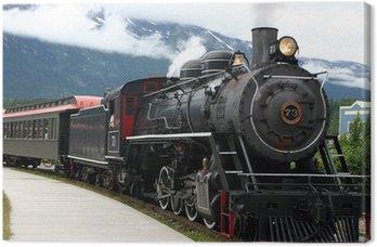 Tableau sur Toile Locomotive à vapeur à la sortie de la station plein de touristes