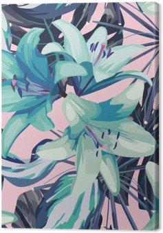 Tableau sur Toile Lys bleu et les feuilles de fond sans soudure