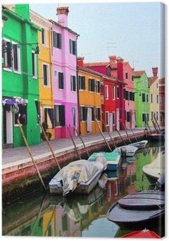 Tableau sur Toile Maisons colorées le long d'un canal à Burano, près de Venise, en Italie