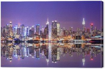 Tableau sur Toile Manhattan Skyline avec réflexions