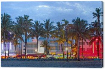 Tableau sur Toile Miami Beach, Floride hôtels et restaurants au coucher du soleil
