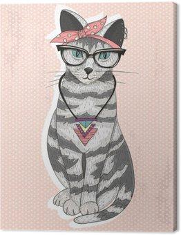 Tableau sur Toile Mignon hippie rockabilly chat avec foulard sur la tête, lunettes et necklac
