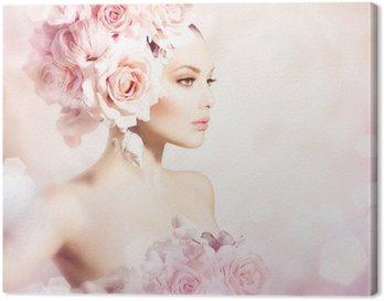 Tableau sur Toile Mode Beauté fille modèle avec des fleurs cheveux. Bride