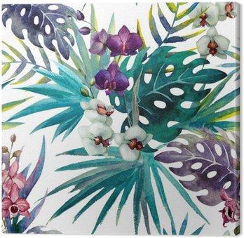 Tableau sur Toile Modèle de feuilles d'hibiscus orchidée, aquarelle