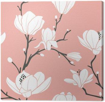 Tableau sur Toile Modèle de magnolia rose