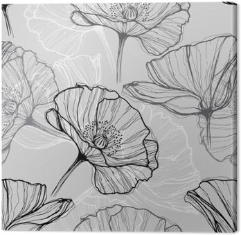 Tableau sur Toile Monochrome seamless coquelicots. Hand-drawn floral background