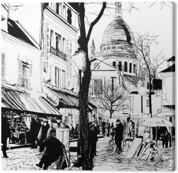 Tableau sur Toile Montmartre en hiver