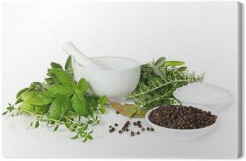 Tableau sur Toile Mortier et pilon avec des herbes fraîches cueillies