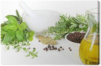 Tableau sur Toile Mortier et pilon avec des herbes fraîches et des épices.