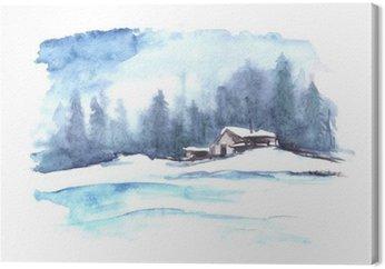 Tableau sur Toile Motif d'hiver Aquarelle. Paysage de campagne. La photo montre une maison, l'épinette, le pin, la forêt, la neige et les dérives.