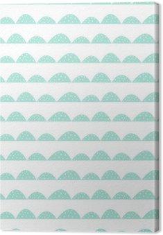 Tableau sur Toile Motif de la menthe sans soudure dans le style scandinave dessinée à la main. rangées de collines stylisées. Vague modèle simple pour le tissu, le textile et le linge de bébé.