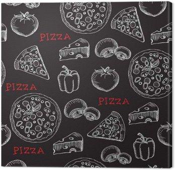Tableau sur Toile Motif de pizza sans soudure. Rétro conception. Vector illustration.