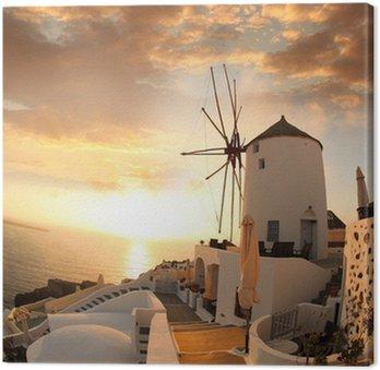 Tableau sur Toile Moulin à Santorin contre le coucher du soleil, de la Grèce