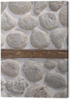 Tableau sur Toile Mur de pierre avec des bois agrandi faisceau