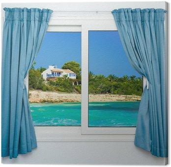 Tableau sur Toile Nature paysage avec une vue à travers une fenêtre avec des rideaux