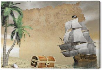 Tableau sur Toile Navire de trouver le trésor des pirates - Rendu 3D