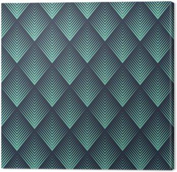 Tableau sur Toile Neon Seamless op bleu art rhombic mélange chevron vecteur modèle