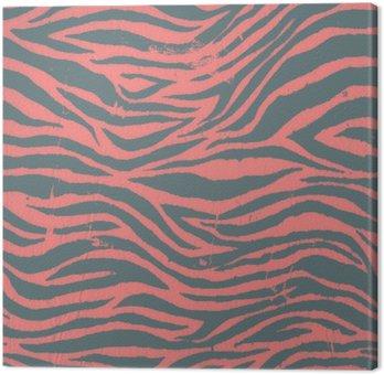 Tableau sur Toile Noir zébré Vintage et motif rouge