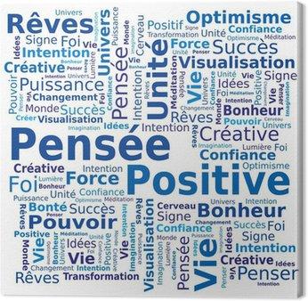 Tableau sur Toile Nuage de Mots - Pensée Positive en Français