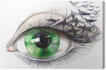 Tableau sur Toile Oeil avec des oiseaux (série C)