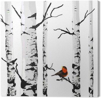 Tableau sur Toile Oiseau de bouleaux, dessin vectoriel avec des éléments modifiables.
