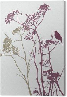Tableau sur Toile Oiseau sur les fleurs de prairie