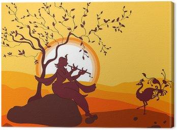 Tableau sur Toile Ombre Art Shri Krishna jouant de la flûte, de la danse de paon